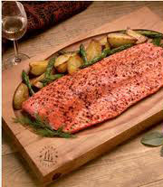 salmon on alder wood plank